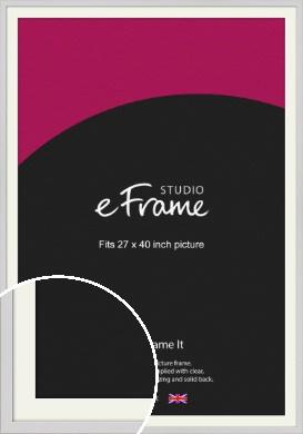 Narrow Flat Fresh White Picture Frame & Mount, 27x40