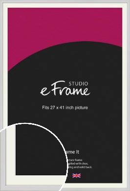 Narrow Flat Fresh White Picture Frame & Mount, 27x41