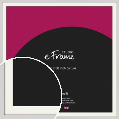 Narrow Flat Fresh White Picture Frame & Mount, 30x30