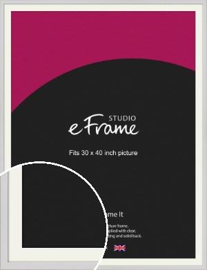 Narrow Flat Fresh White Picture Frame & Mount, 30x40