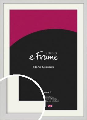 Narrow Flat Fresh White Picture Frame & Mount, A3Plus (VRMP-1302-M-329x483mm)