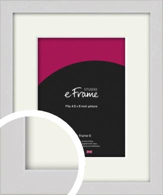 Narrow Flat Fresh White Picture Frame & Mount, 4.5x6
