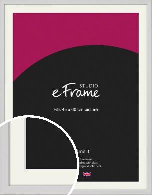 Narrow Flat Fresh White Picture Frame & Mount, 45x60cm (VRMP-1302-M-45x60cm)