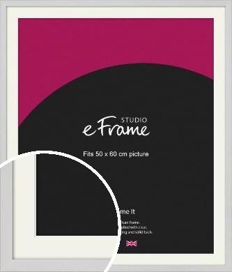 Narrow Flat Fresh White Picture Frame & Mount, 50x60cm (VRMP-1302-M-50x60cm)