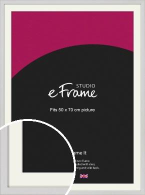 Narrow Flat Fresh White Picture Frame & Mount, 50x70cm (VRMP-1302-M-50x70cm)