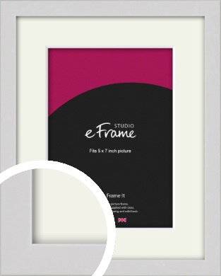 Narrow Flat Fresh White Picture Frame & Mount, 5x7