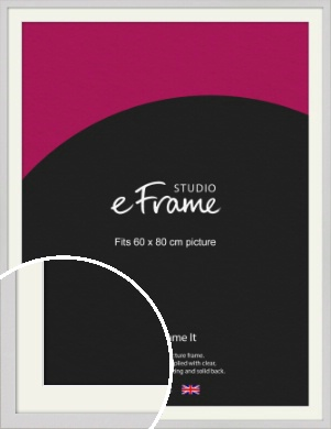 Narrow Flat Fresh White Picture Frame & Mount, 60x80cm (VRMP-1302-M-60x80cm)