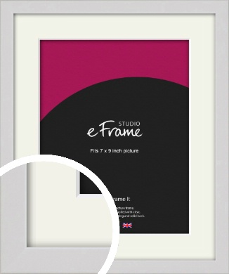 Narrow Flat Fresh White Picture Frame & Mount, 7x9