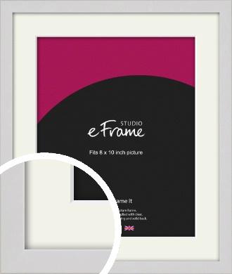Narrow Flat Fresh White Picture Frame & Mount, 8x10