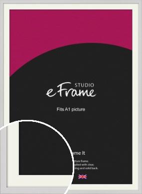 Narrow Flat Fresh White Picture Frame & Mount, A1 (594x841mm) (VRMP-1302-M-A1)