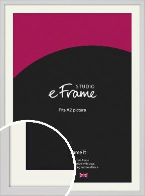 Narrow Flat Fresh White Picture Frame & Mount, A2 (420x594mm) (VRMP-1302-M-A2)