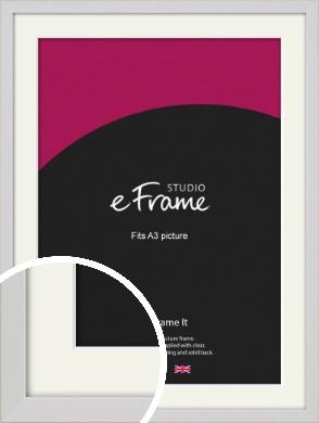 Narrow Flat Fresh White Picture Frame & Mount, A3 (297x420mm) (VRMP-1302-M-A3)