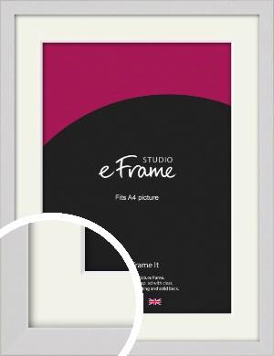 Narrow Flat Fresh White Picture Frame & Mount, A4 (210x297mm) (VRMP-1302-M-A4)