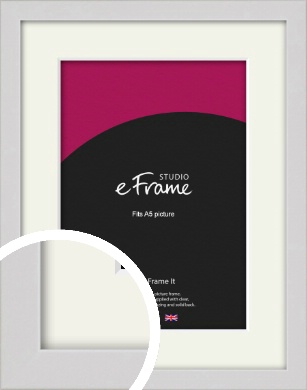 Narrow Flat Fresh White Picture Frame & Mount, A5 (148x210mm) (VRMP-1302-M-A5)