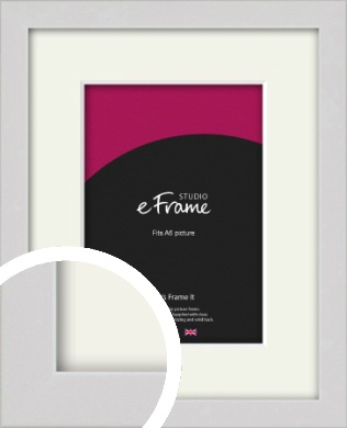 Narrow Flat Fresh White Picture Frame & Mount, A6 (105x148mm) (VRMP-1302-M-A6)