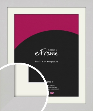 Flat Gallery White Picture Frame & Mount, 11x14