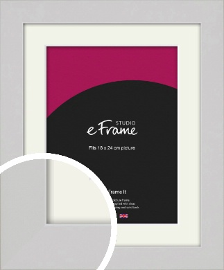 Flat Gallery White Picture Frame & Mount, 18x24cm (VRMP-1307-M-18x24cm)
