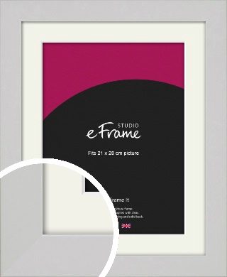 Flat Gallery White Picture Frame & Mount, 21x28cm (VRMP-1307-M-21x28cm)
