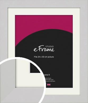Flat Gallery White Picture Frame & Mount, 24x30cm (VRMP-1307-M-24x30cm)