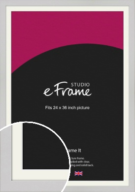 Flat Gallery White Picture Frame & Mount, 24x36