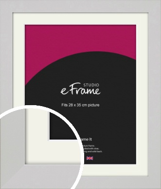 Flat Gallery White Picture Frame & Mount, 28x35cm (VRMP-1307-M-28x35cm)