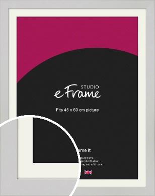 Flat Gallery White Picture Frame & Mount, 45x60cm (VRMP-1307-M-45x60cm)