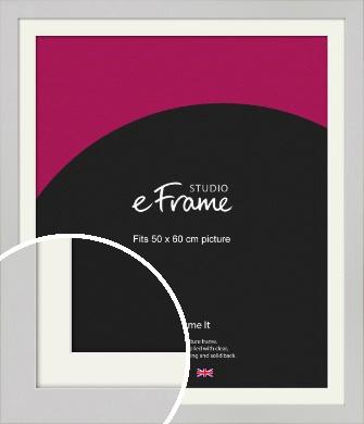 Flat Gallery White Picture Frame & Mount, 50x60cm (VRMP-1307-M-50x60cm)