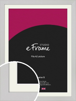 Flat Gallery White Picture Frame & Mount, A2 (420x594mm) (VRMP-1307-M-A2)
