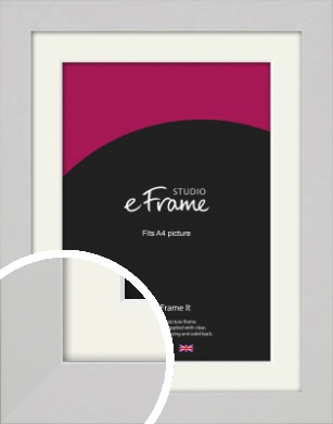 Flat Gallery White Picture Frame & Mount, A4 (210x297mm) (VRMP-1307-M-A4)