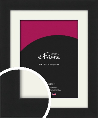 Iconic Gallery Black Picture Frame & Mount, 18x24cm (VRMP-1308-M-18x24cm)