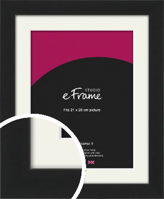 Iconic Gallery Black Picture Frame & Mount, 21x28cm (VRMP-1308-M-21x28cm)
