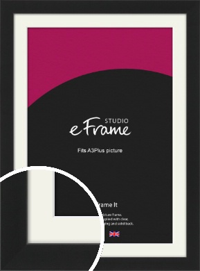 Iconic Gallery Black Picture Frame & Mount, A3Plus (VRMP-1308-M-329x483mm)