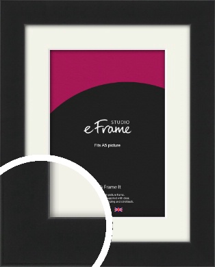 Iconic Gallery Black Picture Frame & Mount, A5 (148x210mm) (VRMP-1308-M-A5)