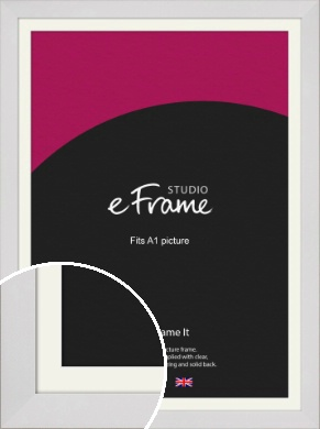 Simply White Picture Frame & Mount, A1 (594x841mm) (VRMP-1309-M-A1)