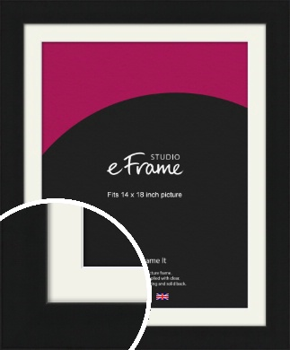 Flat Gallery Black Picture Frame & Mount, 14x18