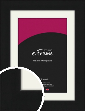 Flat Gallery Black Picture Frame & Mount, 20x30cm (8x12