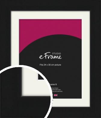 Flat Gallery Black Picture Frame & Mount, 24x30cm (VRMP-1310-M-24x30cm)