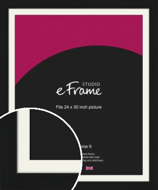 Flat Gallery Black Picture Frame & Mount, 24x30