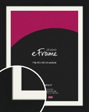 Flat Gallery Black Picture Frame & Mount, 45x60cm (VRMP-1310-M-45x60cm)