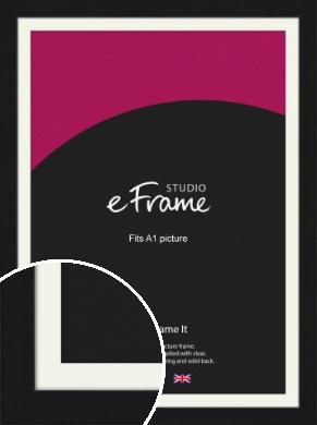 Flat Gallery Black Picture Frame & Mount, A1 (594x841mm) (VRMP-1310-M-A1)