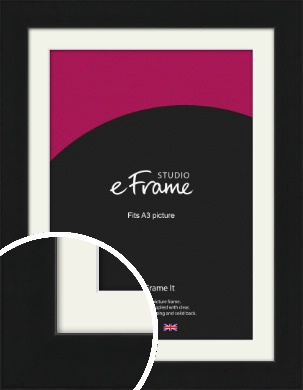Flat Gallery Black Picture Frame & Mount, A3 (297x420mm) (VRMP-1310-M-A3)