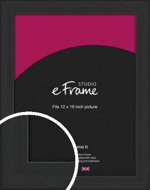 Stylish Wide Black Picture Frame, 12x16