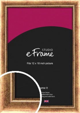 Highly Distressed Burnt Gold Picture Frame, 12x18