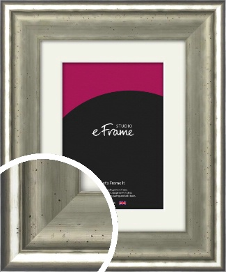Lightly Distressed Silver Picture Frame & Mount (VRMP-246-M)