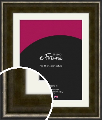 Warm Industrial Style Bronze / Copper Picture Frame & Mount, 11x14
