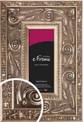 Applique Decorative Silver Picture Frame, 4x10