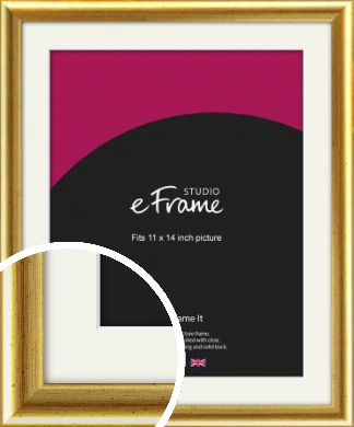 Radius Edge Old Gold Picture Frame & Mount, 11x14