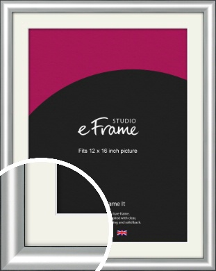 Stainless Silver Picture Frame & Mount, 12x16