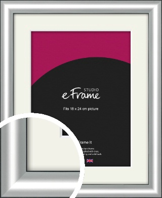 Stainless Silver Picture Frame & Mount, 18x24cm (VRMP-A019-M-18x24cm)
