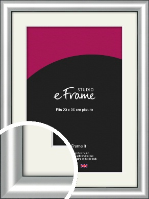 Stainless Silver Picture Frame & Mount, 20x30cm (8x12